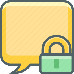 bubble, communication, lock, message, safe, secure, square icon