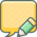 bubble, communication, edit, message, pencil, square, write icon