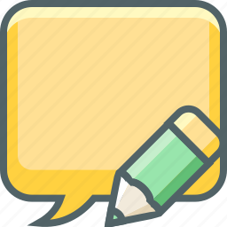 bubble, communication, edit, message, pencil, square, write icon
