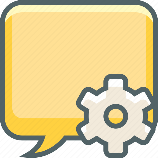 bubble, communication, gear, message, options, setting, square icon