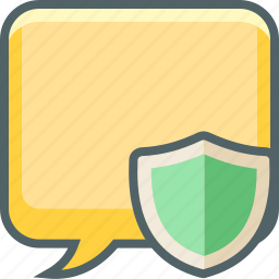 bubble, communication, message, protection, secure, shield, square icon