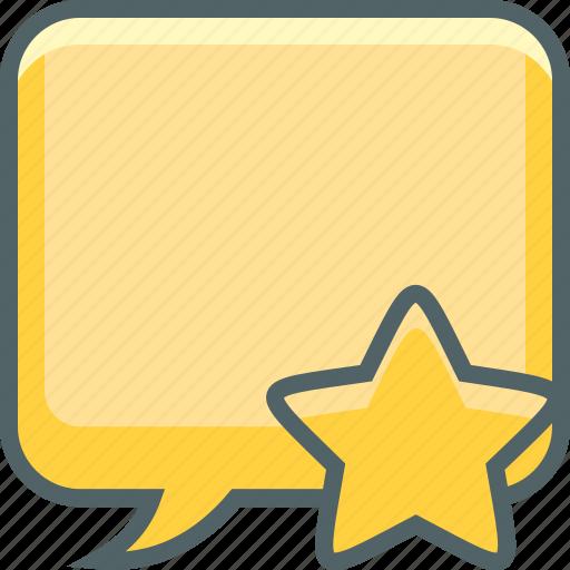 bookmark, bubble, communication, favourite, message, square, star icon