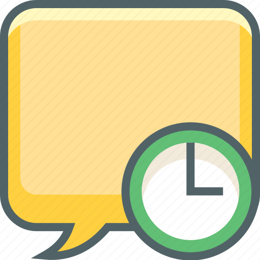 bubble, clock, communication, message, square, time, timer icon