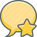 bookmark, bubble, communication, favourite, like, message, star icon
