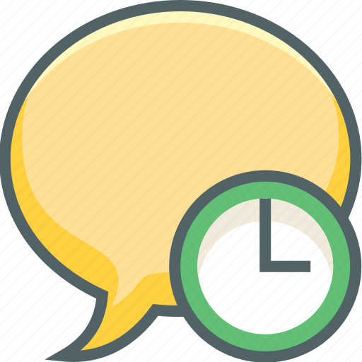 bubble, chat, clock, communication, message, time, timer icon