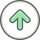 arrow, circle, direction, navigation, up, upload icon