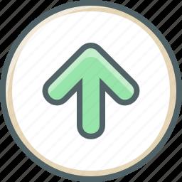 arrow, circle, direction, navigation, up, upload icon