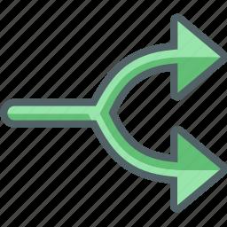 arrow, arrows, direction, divide, navigation icon