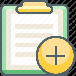 add, board, clip, create, new, paper, plus icon