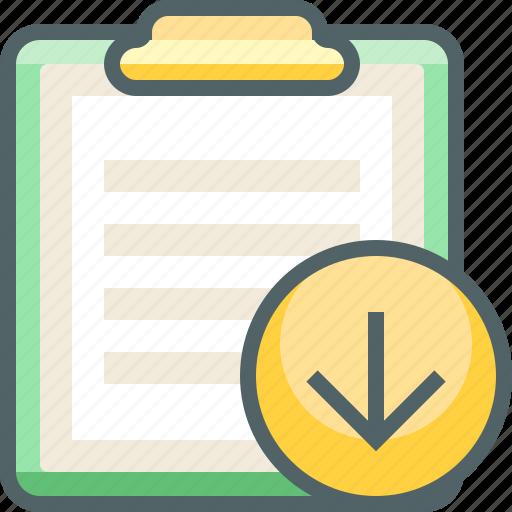 arrow, board, clip, direction, down, download, paper icon