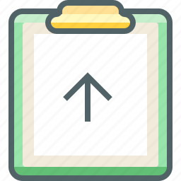 arrow, board, clip, direction, paper, up, upload icon