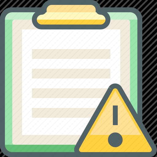 alert, board, caution, clip, damage, paper, warning icon