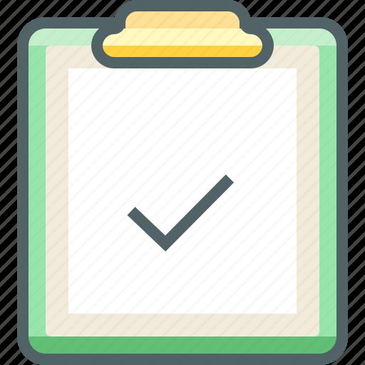 accept, board, check, clip, mark, paper, tick icon