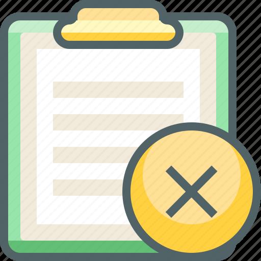 board, cancle, clip, close, delete, paper, remove icon