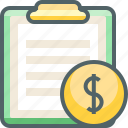 board, clip, currency, dollar, finance, money, paper icon
