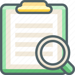 board, clip, find, magnifier, paper, search, zoom icon