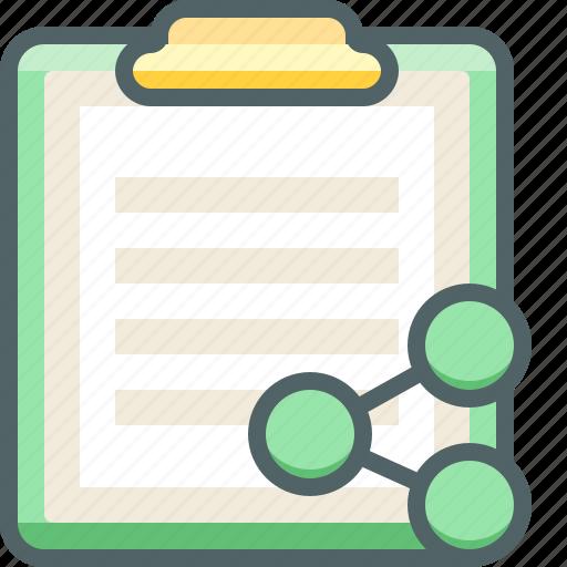board, clip, communication, media, network, paper, share icon