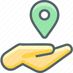 direction, finger, gesture, hand, location, map, navigation icon