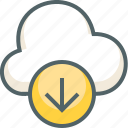 arrow, cloud, down, direction, download, forecast, weather