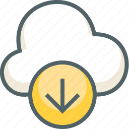 arrow, cloud, direction, down, download, forecast, weather icon