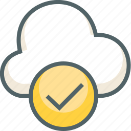 accept, check, cloud, forecast, mark, oke, weather icon