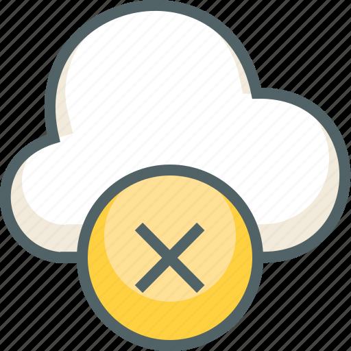 cancel, close, cloud, delete, forecast, remove, weather icon