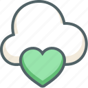 bookmark, cloud, forecast, heart, love, romantic, weather icon