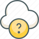 cloud, forecast, help, question, service, support, weather icon