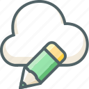 cloud, design, edit, forecast, pen, pencil, weather icon