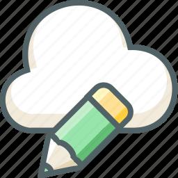 cloud, design, edit, forecast, pen, pencil, weather icon