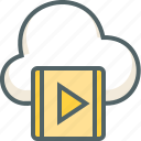cloud, forecast, media, music, play, player, weather icon