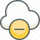 close, cloud, delete, forecast, minus, remove, weather icon