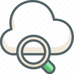 cloud, forecast, glass, magnifier, search, weather, zoom icon