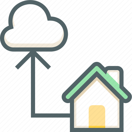 cloud, forecast, house, network, share, sync, weather icon