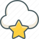 bookmark, cloud, favorite, forecast, like, star, weather icon