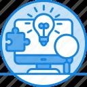 big data, bulb, creativity, idea, laptop, magnifier, puzzle, solution icon icon
