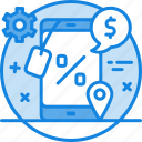 dollar, email marketing, gear, mobile marketing, shoppping, sms marketing, social media, text ... icon