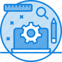 laptop, magnifier, pencil, power tool, power tools icon, scale, setting icon