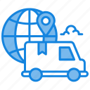 delivery truck, delivery van, fast delivery, global, globe, loaction, package delivery, worldwide icon