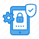 antivirus, app, check mark, cog, gear, mobile, protection, round, safety icon icon
