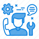 call management, call support, client support, gear, support line icon