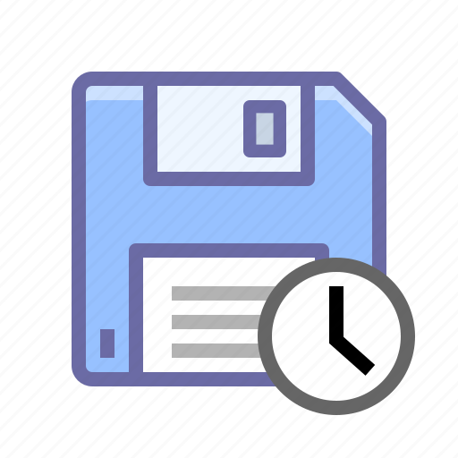 clock, disk, diskette, save, time icon