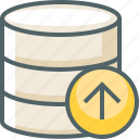 arrow, data, database, server, storage, up, upload icon