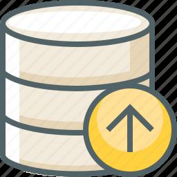 arrow, data, database, server, storage, up, upload icon