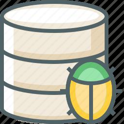 bug, data, database, server, storage, virus icon