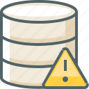 alert, caution, damage, data, database, network, storage icon