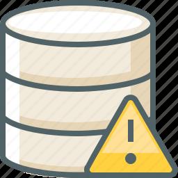 alert, caution, damage, data, database, network, storage icon