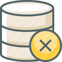 cancle, close, data, database, delete, server, storage icon