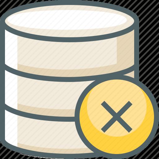 cancle, close, data, database, delete, server, storage icon