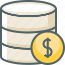 currency, data, database, dollar, finance, server, storage icon